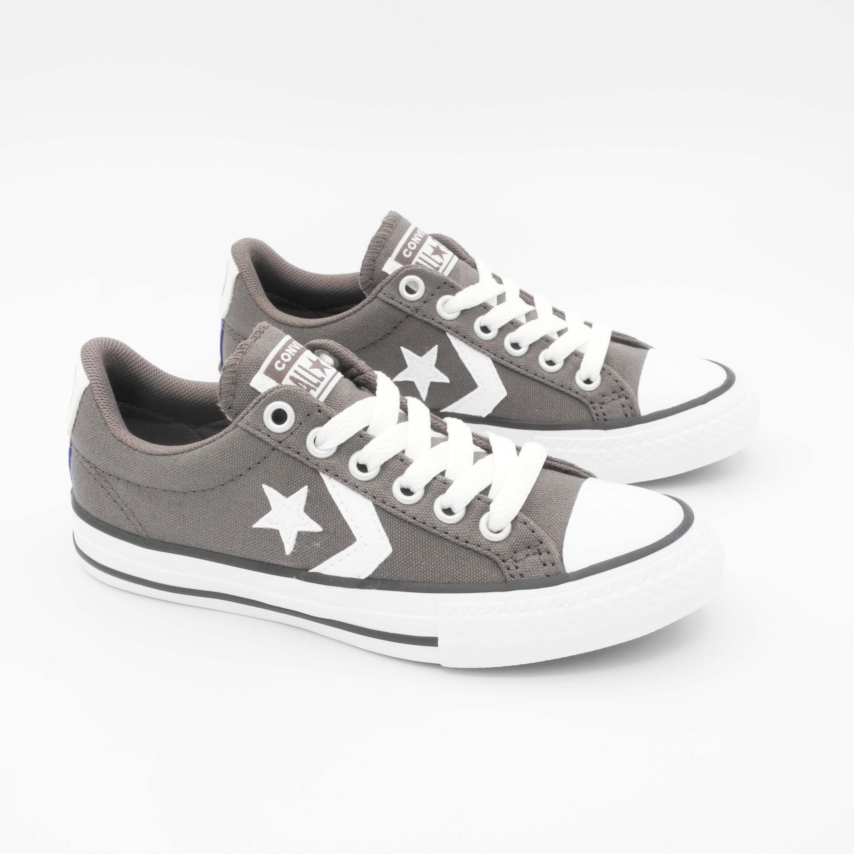 Sneaker basse bambini Converse Star Player OX tessuto grigio lacci 663655C