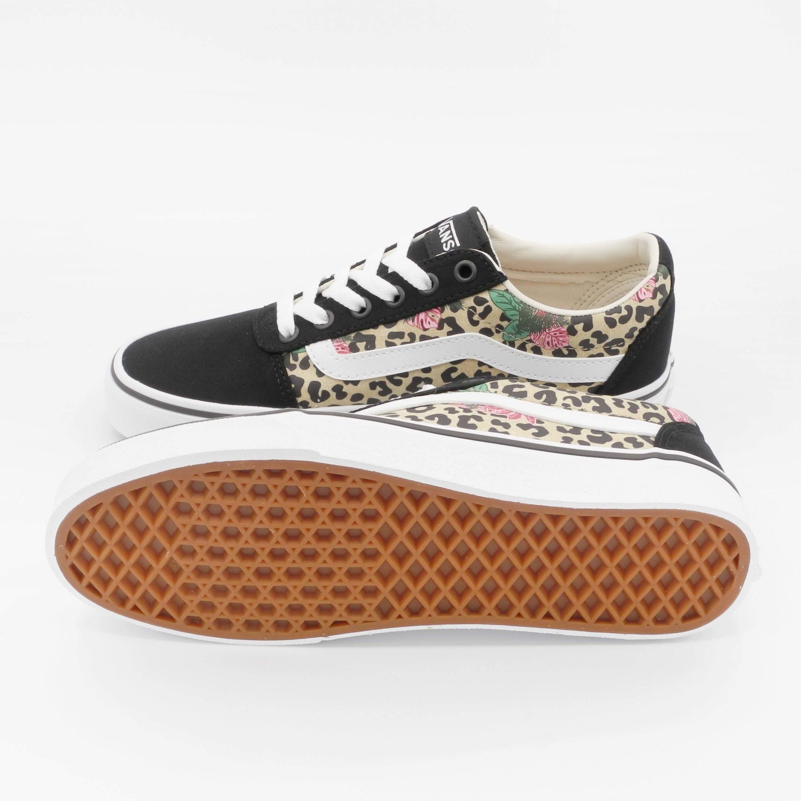 Sneakers donna VANS WARD (Cheetah palms) in Canvas Leopardato Nero