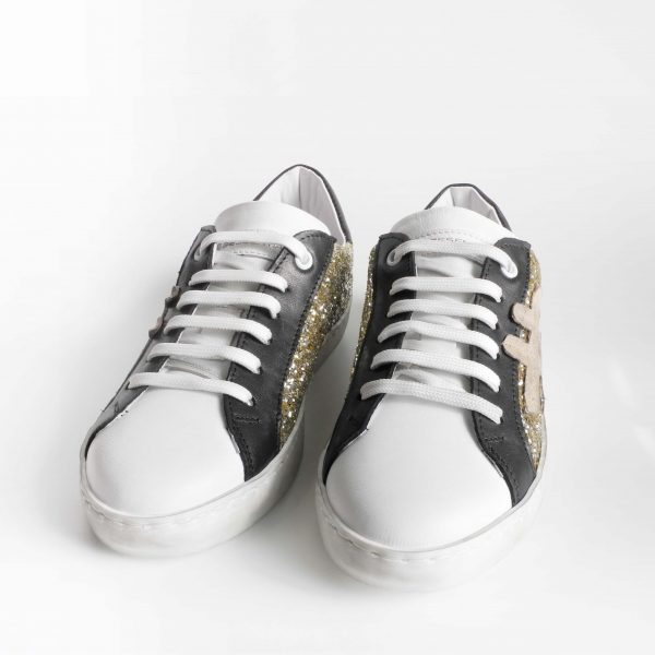 sneakers-bessential-donna-in-pelle-bianca-con-glitter-oro